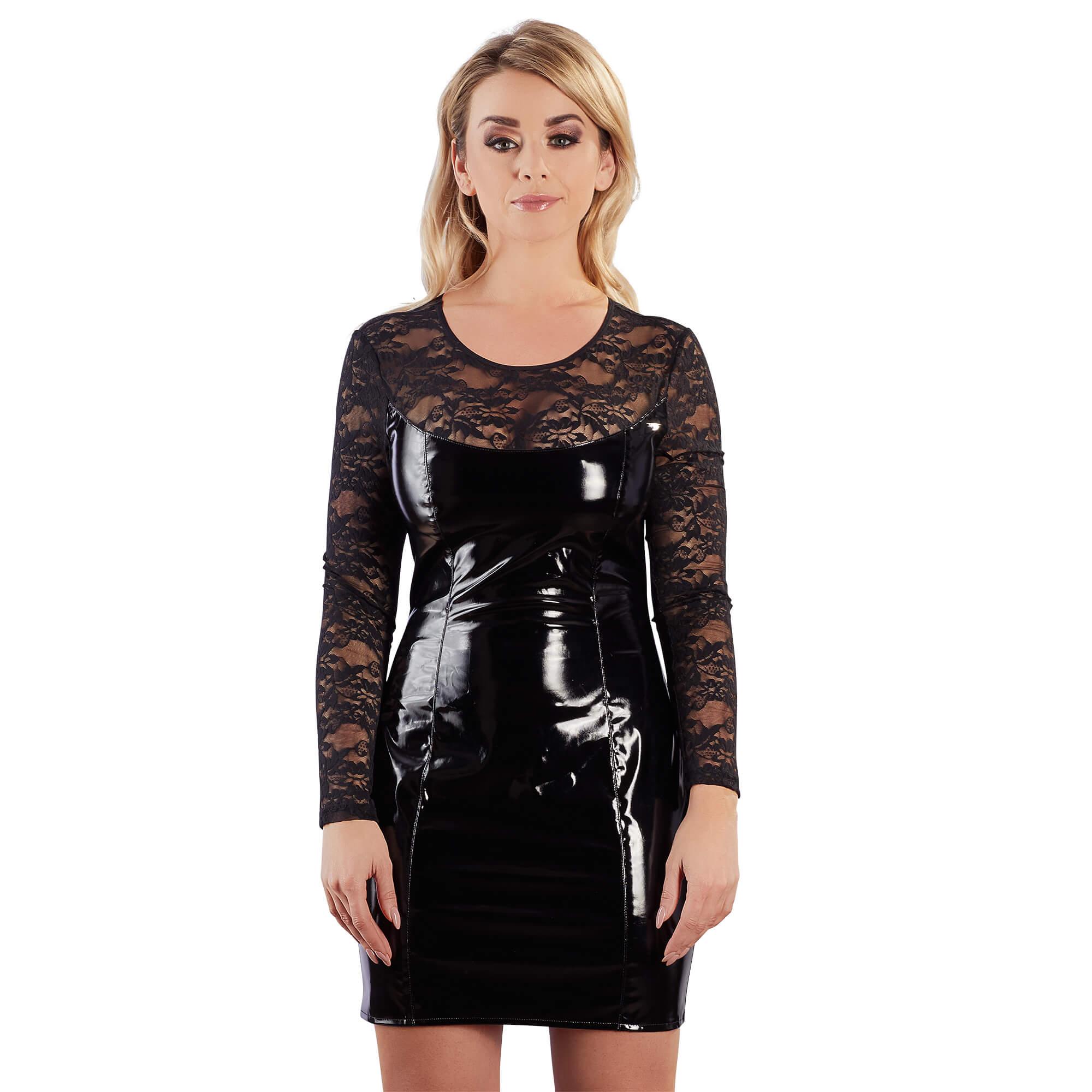 Lack-Kleid mit Spitze | high feelings