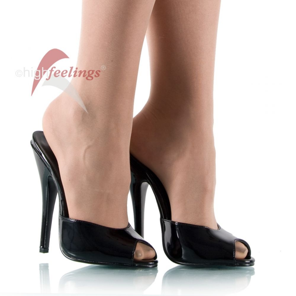 high heels pantoletten lack schwarz 15 cm absatz gr 36 45 ebay. Black Bedroom Furniture Sets. Home Design Ideas
