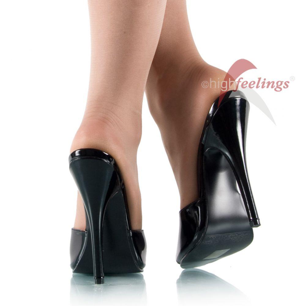 high heels pantoletten lack schwarz 15 cm absatz gr 36 45. Black Bedroom Furniture Sets. Home Design Ideas