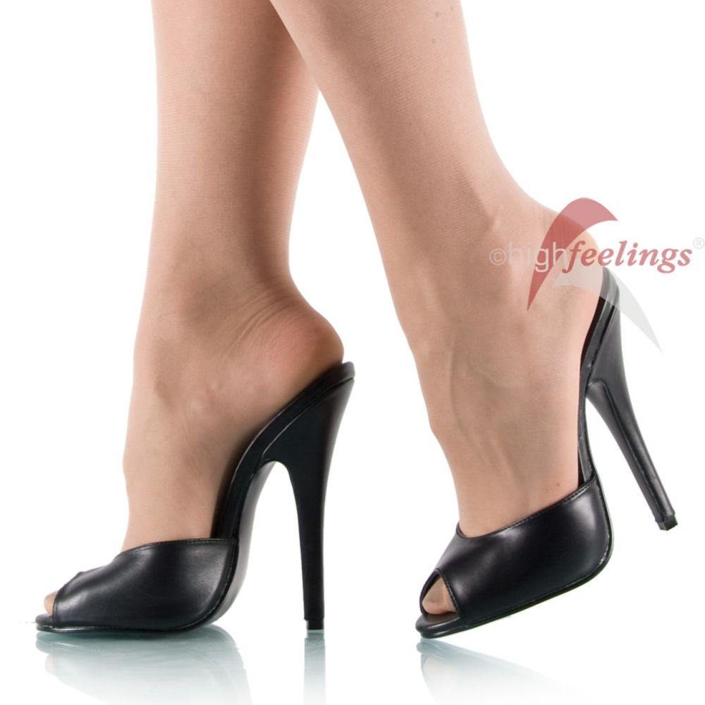 high heel pantoletten leder schwarz 15 cm absatz gr 36 45 ebay. Black Bedroom Furniture Sets. Home Design Ideas