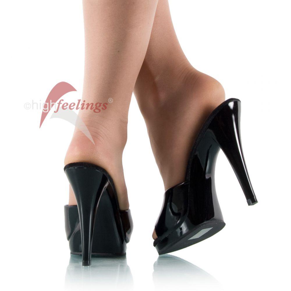 high heels pantoletten mini plateau lack schwarz gr 36. Black Bedroom Furniture Sets. Home Design Ideas