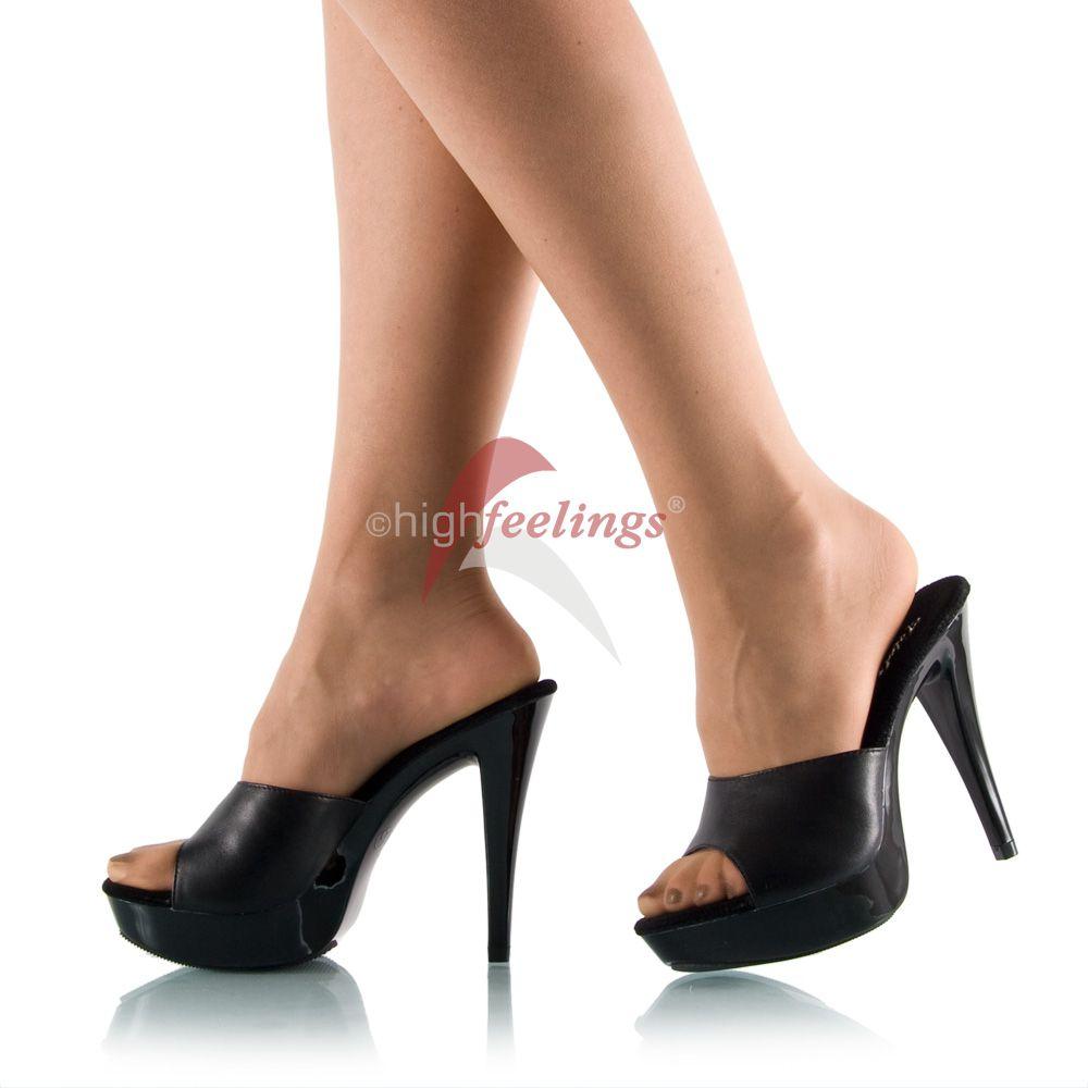 high heels pantoletten schwarz leder plateau gr 36 45. Black Bedroom Furniture Sets. Home Design Ideas
