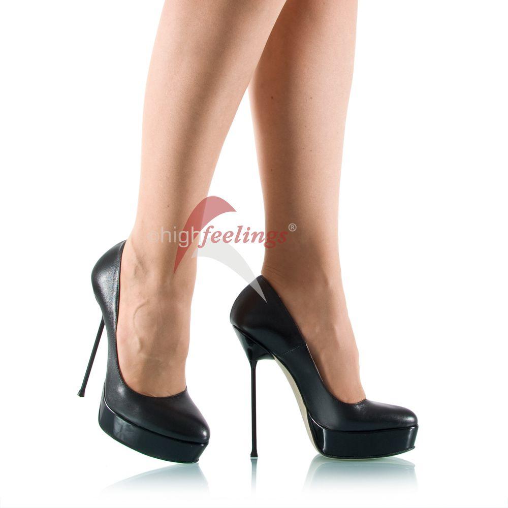 plateau high heels nappaleder schwarz made in italy ebay. Black Bedroom Furniture Sets. Home Design Ideas