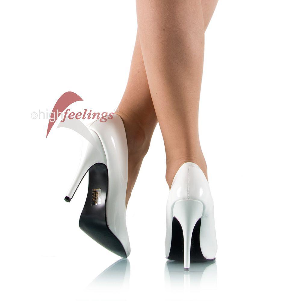 high heels pumps wei lack 11 13 cm absatz gr 35 47 ebay. Black Bedroom Furniture Sets. Home Design Ideas