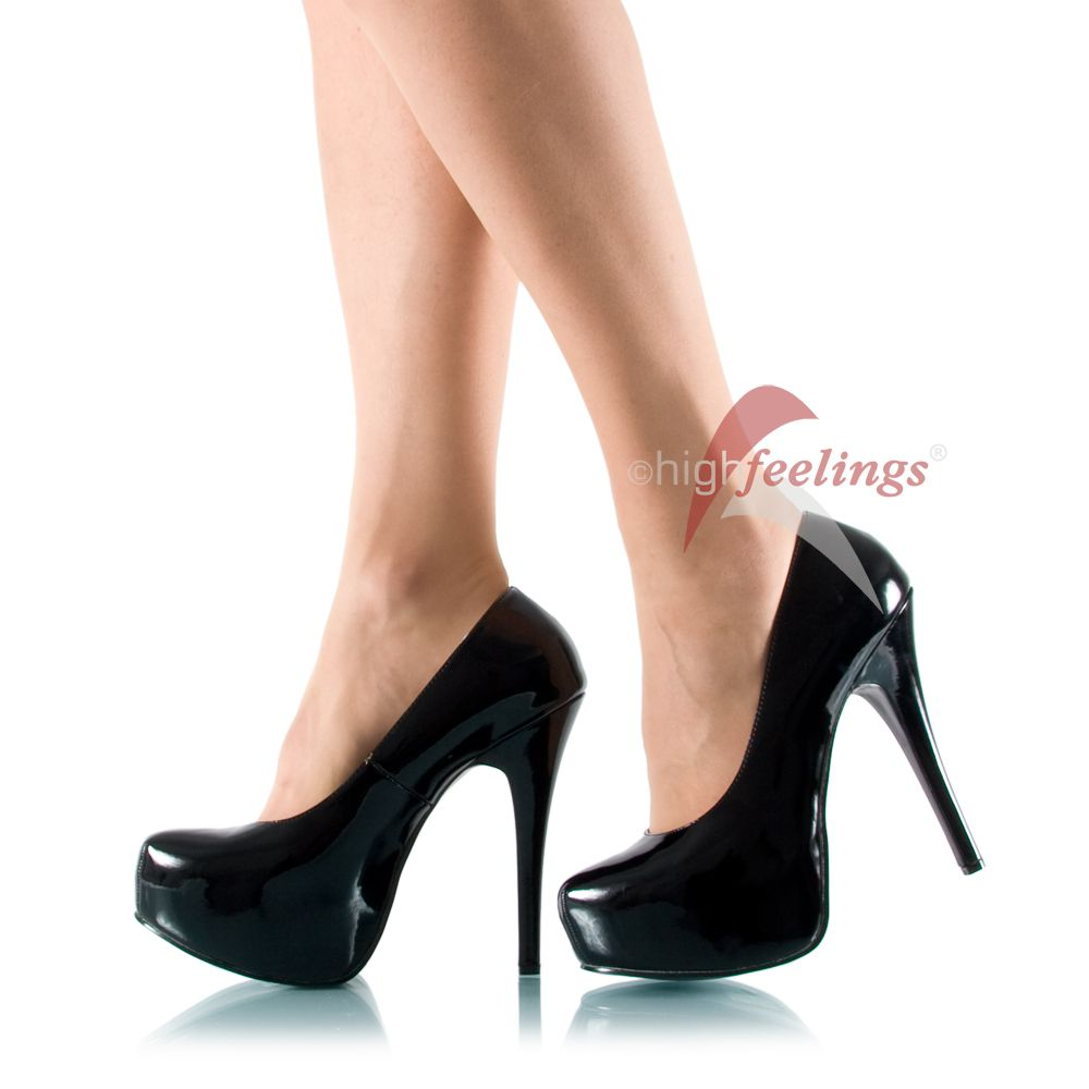 plateau high heels pumps bergr e schwarz lack gr 43 47 ebay. Black Bedroom Furniture Sets. Home Design Ideas