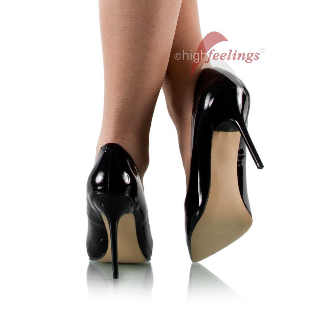 spitze high heels lack pumps schwarz gr e 36 47 ebay. Black Bedroom Furniture Sets. Home Design Ideas
