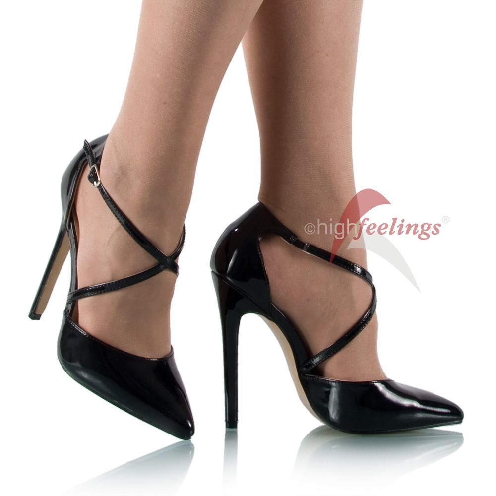 high heels pumps riemchen lack schwarz 13 15 cm absatz. Black Bedroom Furniture Sets. Home Design Ideas