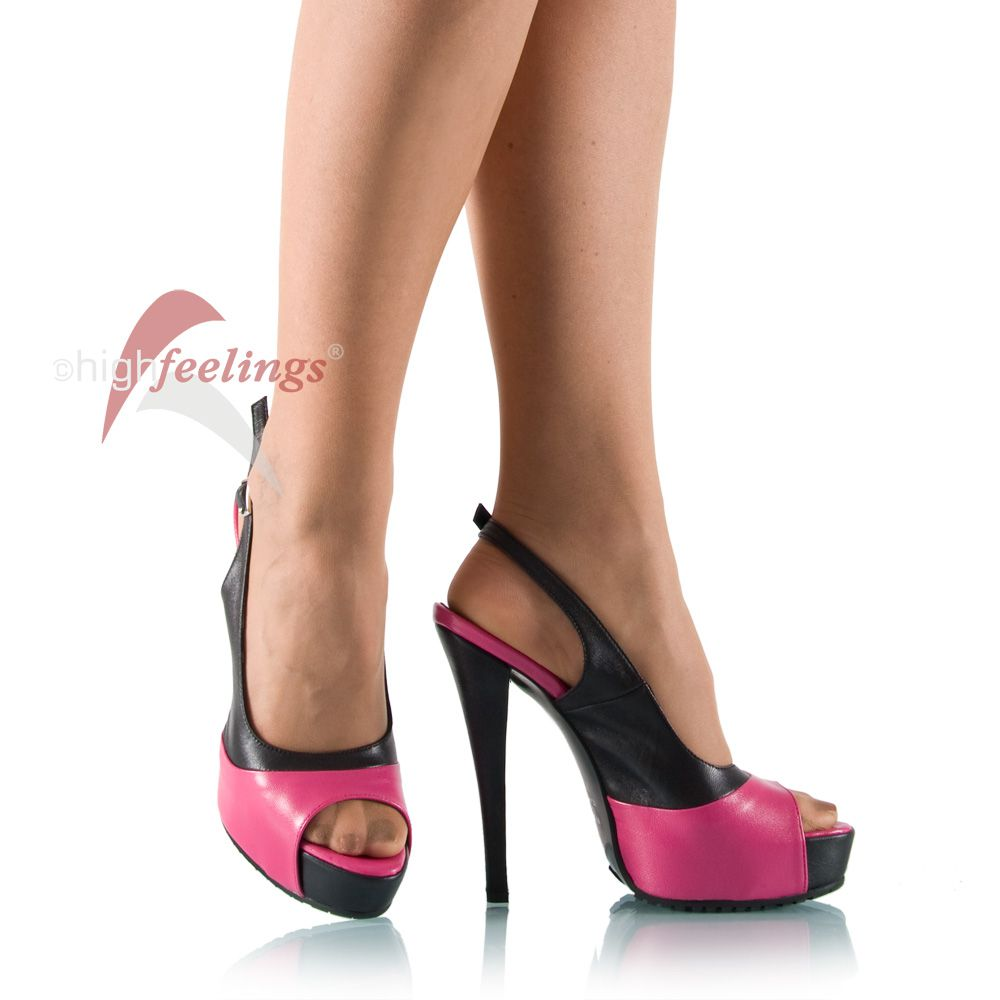 high heel sandalette schwarz pink plateau kalbsleder ebay. Black Bedroom Furniture Sets. Home Design Ideas