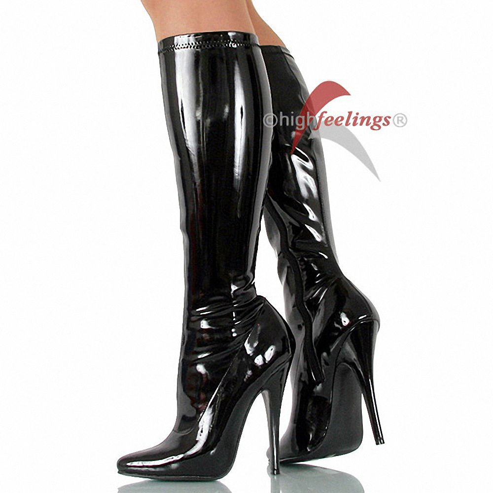 high heel stiefel stretch lack schwarz absatz 13 5 14 5 cm gr 36 47 ebay. Black Bedroom Furniture Sets. Home Design Ideas