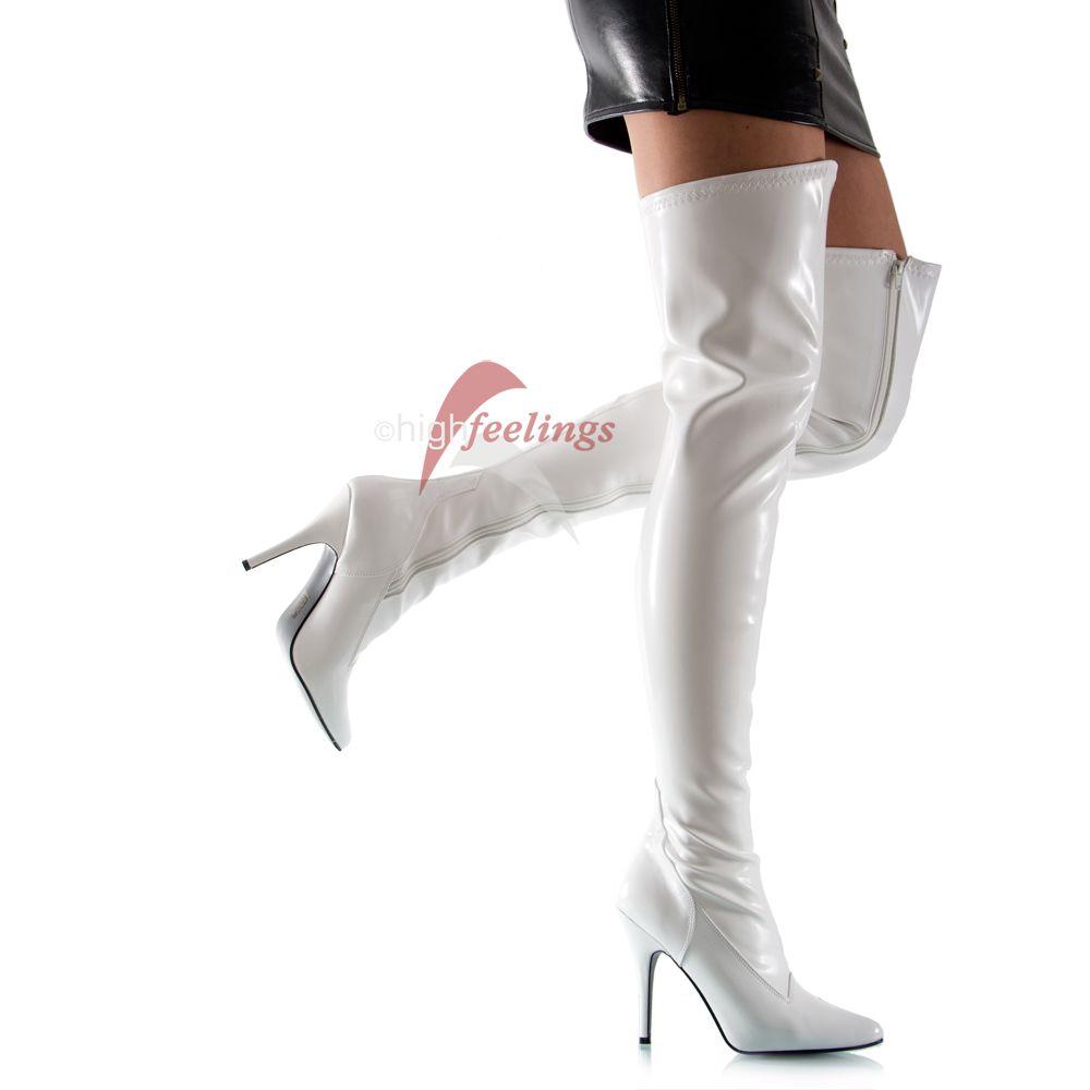 wei e high heels overknee stiefel stretch lack 11 13 cm. Black Bedroom Furniture Sets. Home Design Ideas