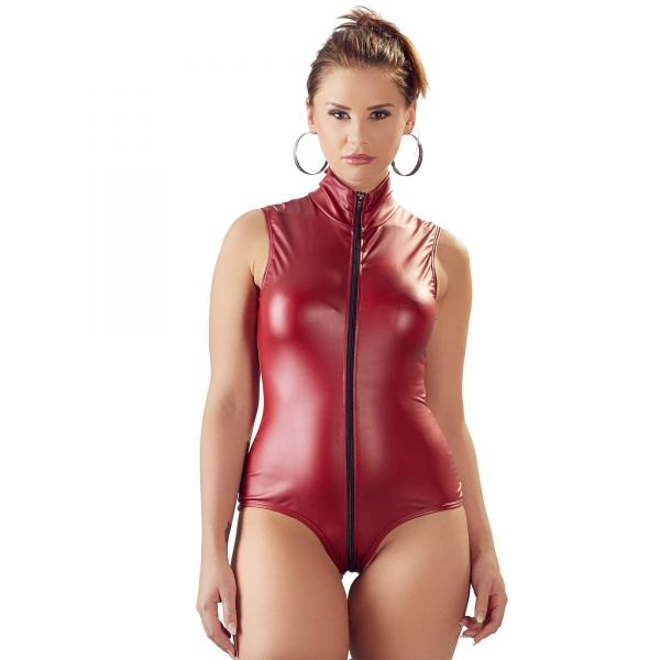Roter Wetlook Body mit 2-Wege-Zip
