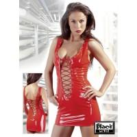 Lackkleid in Rot mit Schnürung - KL100009