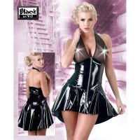 Schwarzes Lackkleid mit Neckholder - KL100083
