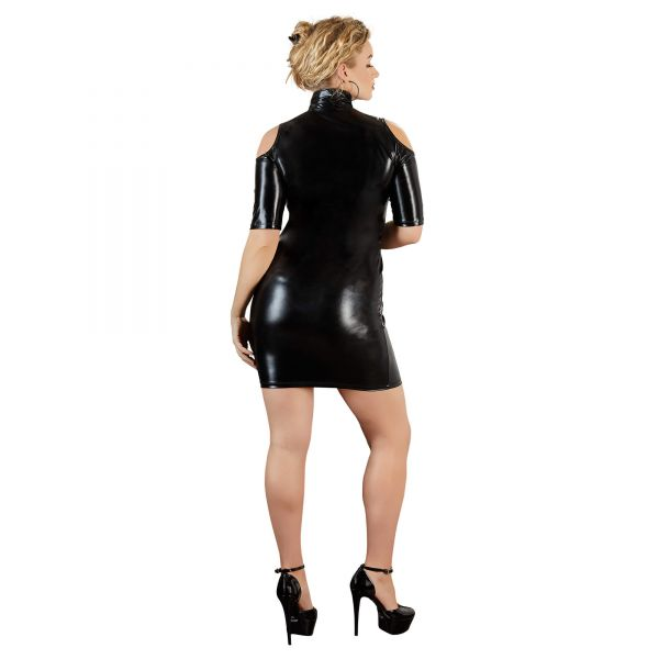 Schulterfreies Minikleid Wetlook