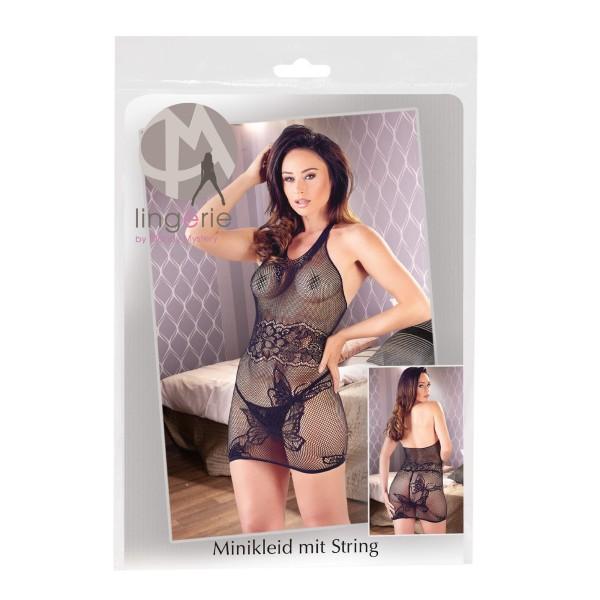 Netz Minikleid Schwarz