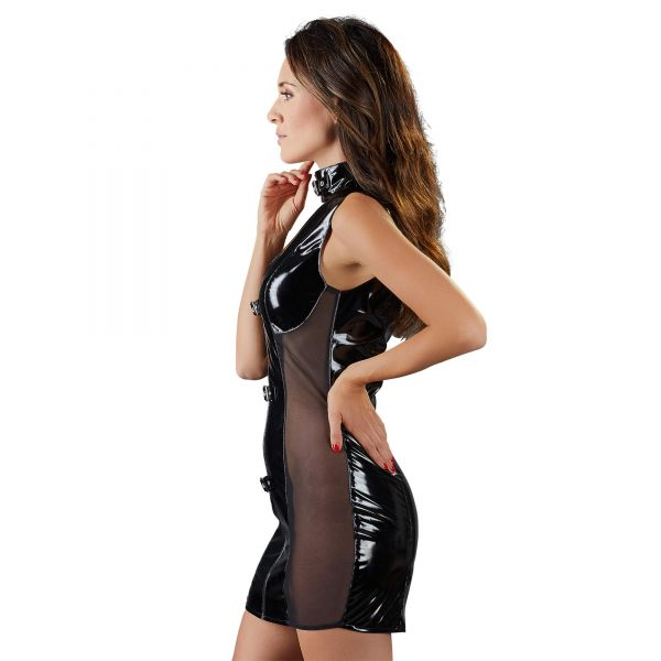 Lack-Kleid mit Netz