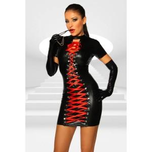 Wetlook Minikleid mit roter Schnürung - KL290009