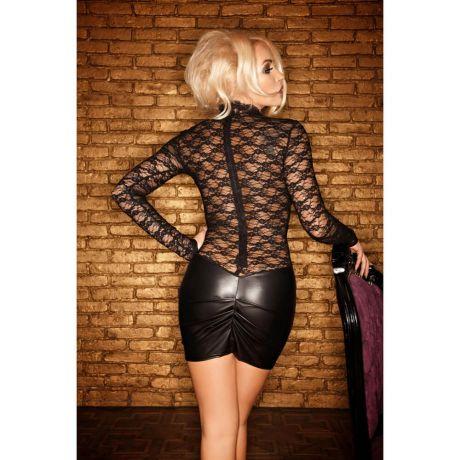 Schwarzes Minikleid mit Spitze und Wetlook