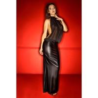 Langes Kleid mit Chiffon-Top - KL300004