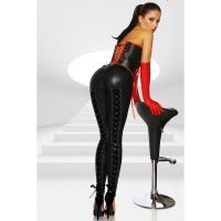 Leggings Wetlook Schwarz Schnürung - LG290001