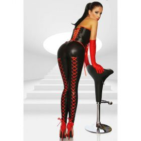 Leggings im Wetlook mit roter Schnürung - LG290002