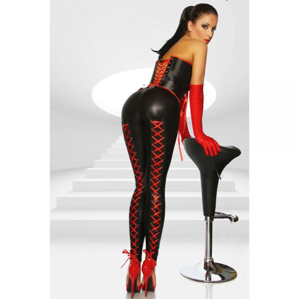 Leggings im Wetlook mit roter Schnürung