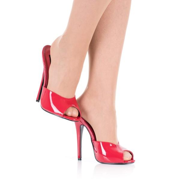 High Heels Pantoletten Rot Lack DOM101