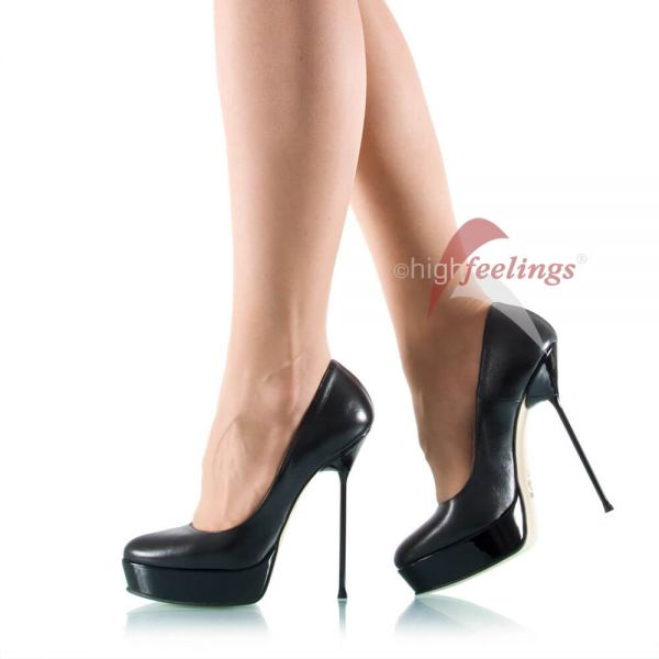Leder Plateau-Pumps mit Stiletto-Absatz