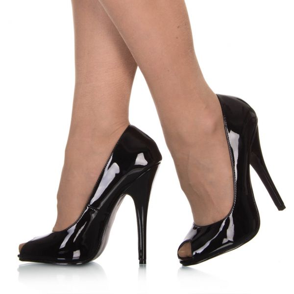 Pumps Peeptoes Lack Schwarz