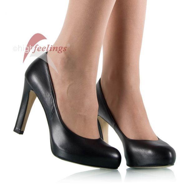 Leder-Pumps in Schwarz