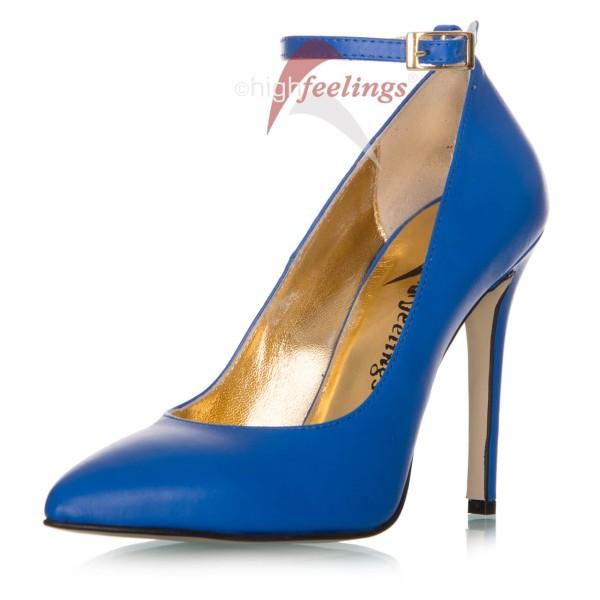 Riemchenpumps Blau Leder
