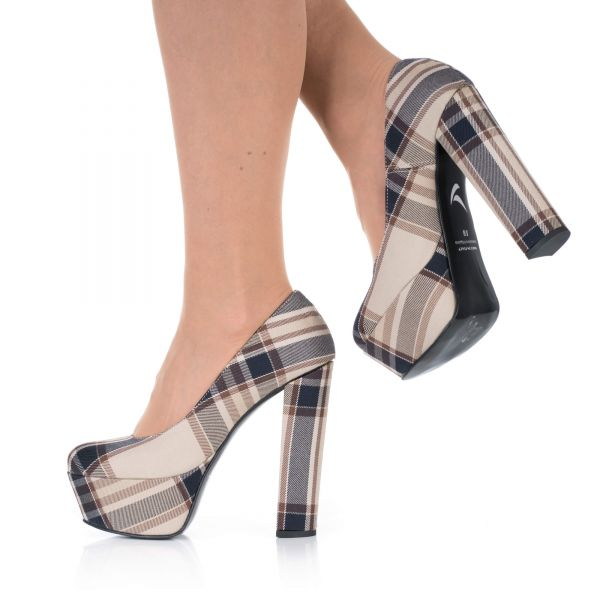 High Heels Plateau Pumps Schottenmuster