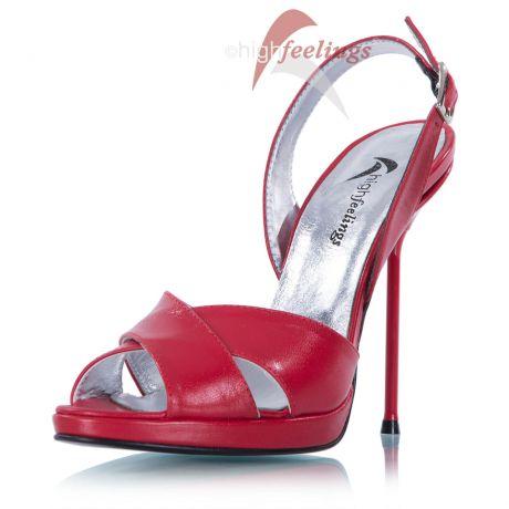 Sandaletten Rot Metallabsatz