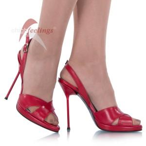 Sandaletten Rot Metallabsatz - SA060006