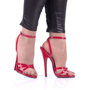 High Heels Riemchen Sandaletten DOM108 Rot Lack - SA080097