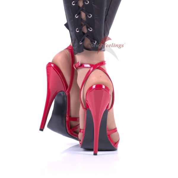 High Heels Riemchen Sandaletten DOM108 Rot Lack