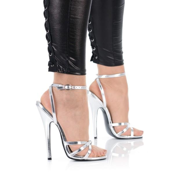 Silberne High Heel Sandalette DOM108