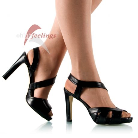 Schwarze Sandaletten mit 11 - 13 cm Absatz