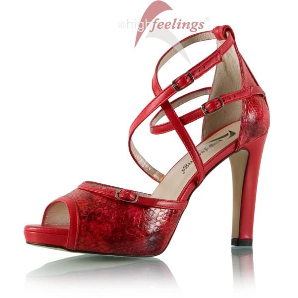 rote sandaletten mit riemchen 10 cm absatz high feelings