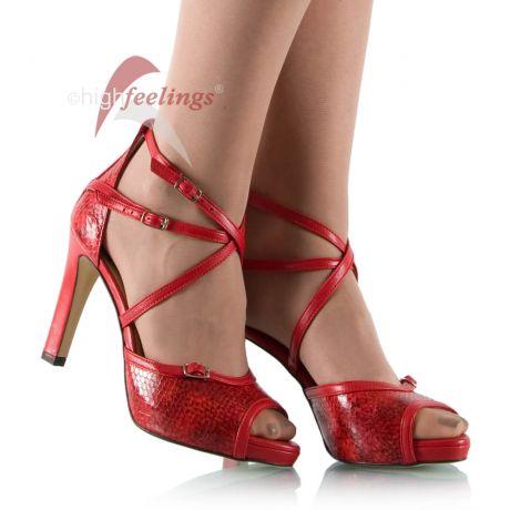 Rote Sandaletten mit 10 cm Absatz
