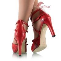Vorschau: Rote Sandaletten mit 10 cm Absatz