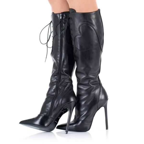 High Heels Leder-Stiefel
