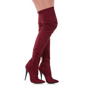 Overknee Stiefel Weinrot Velours - SO060021