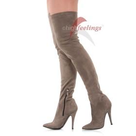 Overknee Stiefel Taupe Grau Velours - SO060022