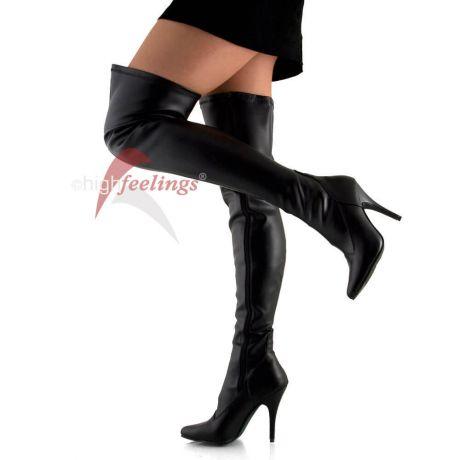 Overknee Stiefel aus schwarzem Stretch