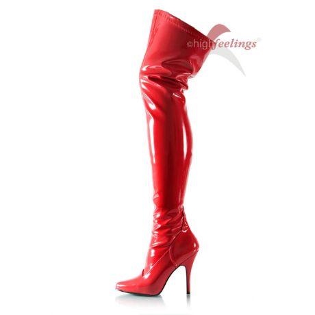 Rote Overknee Stiefel