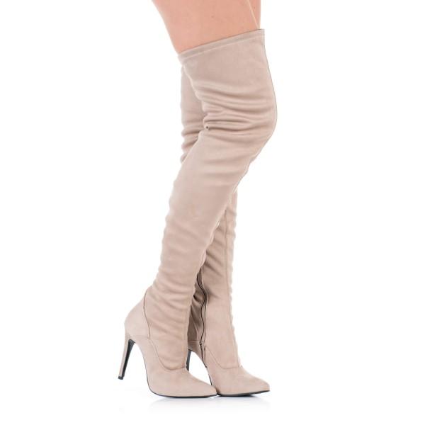 Overknee Stiefel Beige