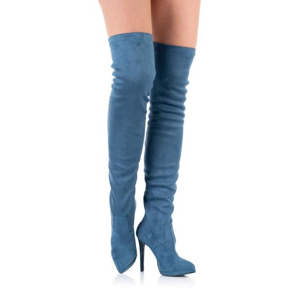 Overknee-Stiefel Jeans-Blau