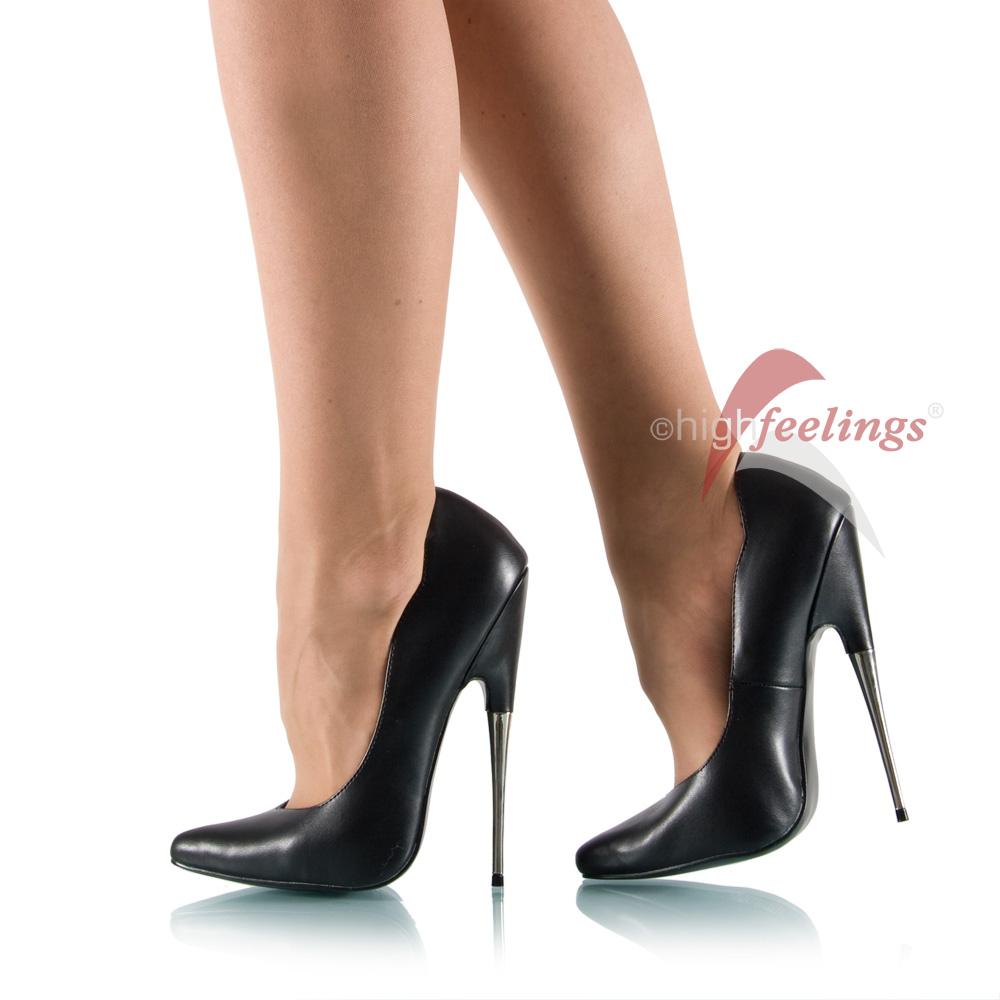 ultra hohe high heels pumps metallabsatz schwarz eu 35 45. Black Bedroom Furniture Sets. Home Design Ideas