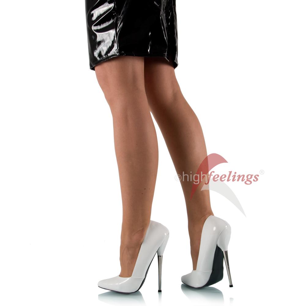 extrem high heels pumps metallabsatz damen schuhe weiss lack eu 36 45 ebay. Black Bedroom Furniture Sets. Home Design Ideas